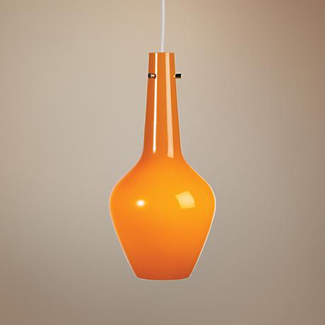Jonathan Adler Capri Tall Orange Glass Pendant Light