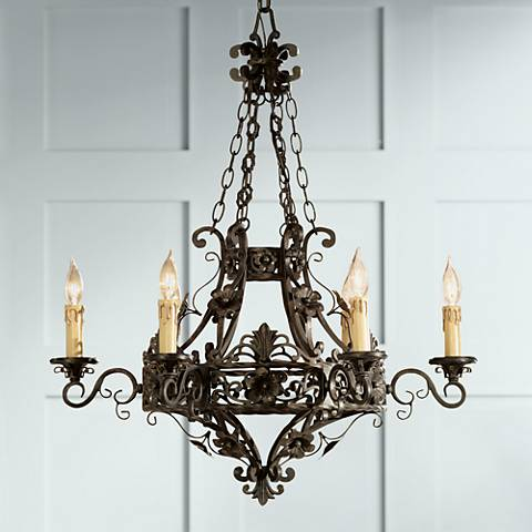 "Merrifield 28"" Wide Dark Bronze 6-Light Iron Chandelier"