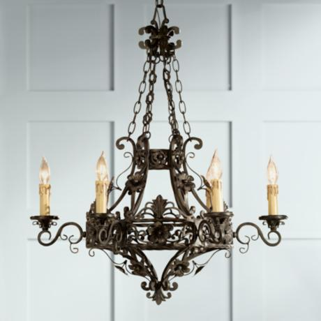 "Dark Bronze 28"" Wide 6-Light Iron Chandelier"