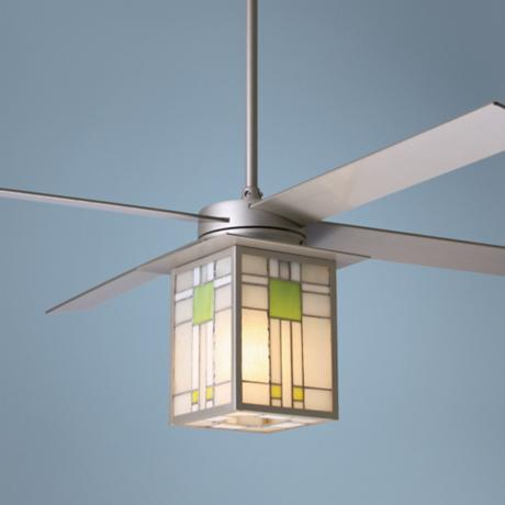 "52"" Prairie Nickel and Stained Glass Ceiling Fan"