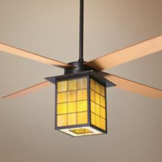 "52"" Library Rubbed Bronze and Stained Glass Ceiling Fan"