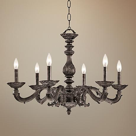 "Sutton 28"" Wide Venetian Bronze and Gold Chandelier"