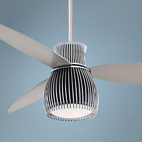 "56"" Minka Aire Uchiwa Black and Chrome Finish Ceiling Fan"