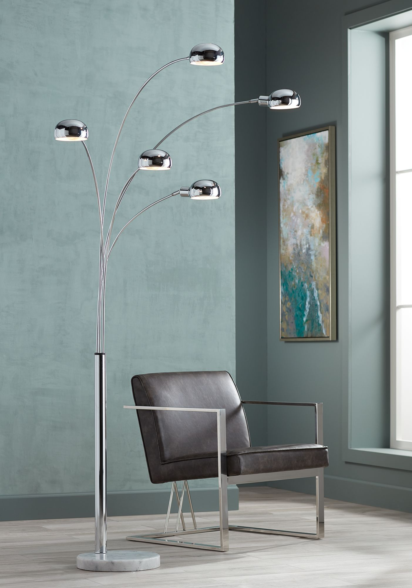 marble base five light arc floor lamp - Arc Floor Lamps