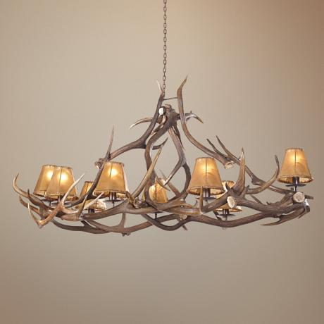 "Elk Deer Antler 45"" Wide Oval Chandelier"