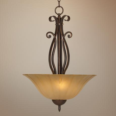Franklin Iron Works Amber Scavo Glass Pendant Chandelier