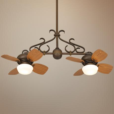 Casa Vieja Hacienda Twin Fan Bronze Scroll Ceiling Fan