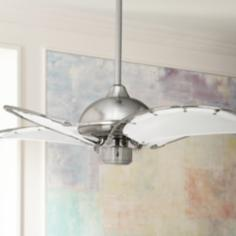 "40"" Aerial Brushed Nickel White Blades Ceiling Fan"
