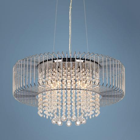 Chrome Cage with Crystal Drops Pendant Chandelier