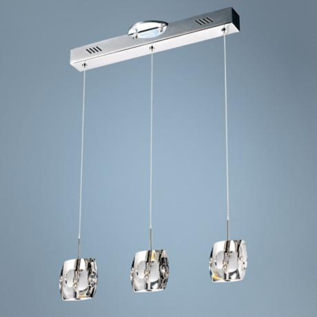 ET2 Neo Contemporary Chrome and Crystal 3-Light Pendant