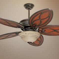 "52"" Tommy Bahama Copa Breeze Amber Mist Light Ceiling Fan"