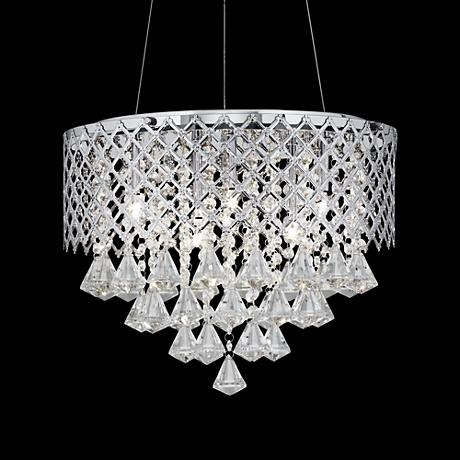 "Possini Euro Criss Cross 16"" Wide Clear Crystal Pendant"