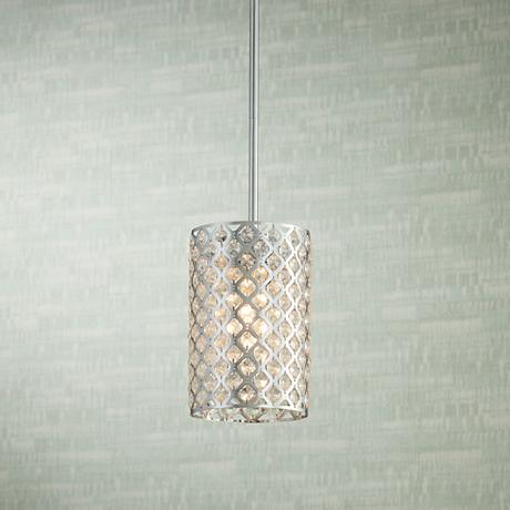 "Possini Euro Glitz Crystal and Chrome 6"" Wide Pendant Light"