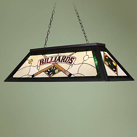 "Billiards Green Tiffany-Style 44"" Wide Island Chandelier"