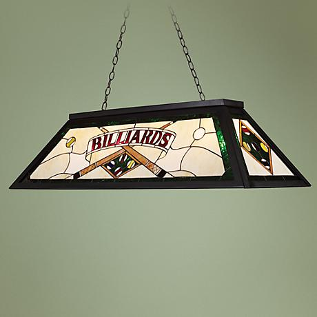 Billiards Green Tiffany-Style Island Chandelier