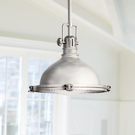 "Kichler Polished Nickel Fresnel Lens 12"" Wide Pendant Light"