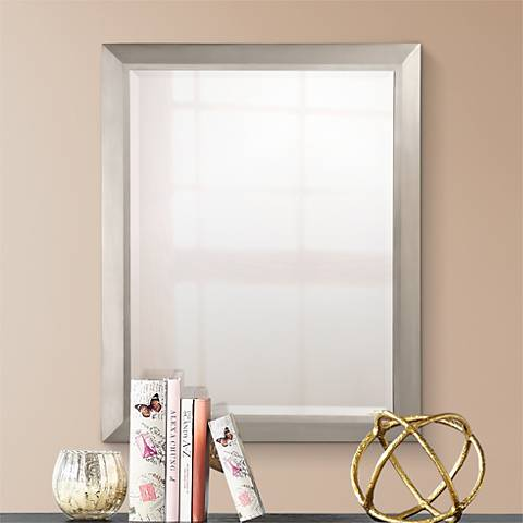 "Kichler Brushed Nickel 30"" High Rectangular Wall Mirror"