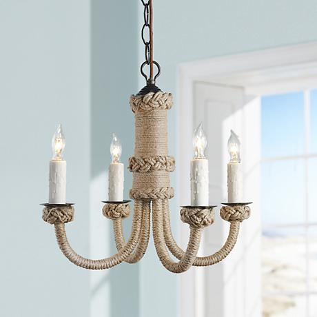 Jamie Young Udaipur Woven Jute 4-Light Chandelier
