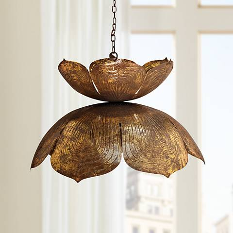 "Jamie Young Flowering Lotus 20"" Wide Antique Gold Pendant"