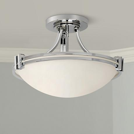 "Possini Euro 16"" Wide Chrome Ceiling Light"
