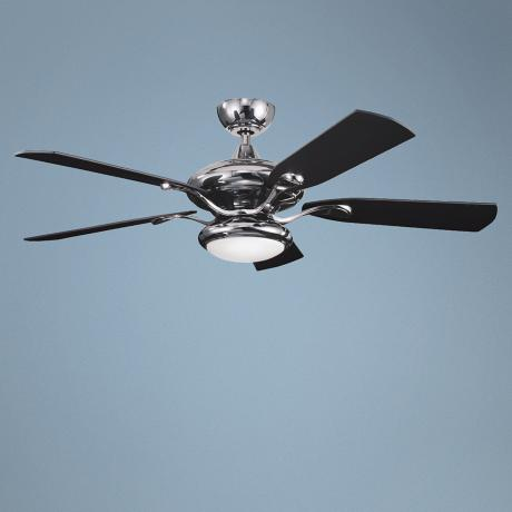 "52"" Kichler Aldrin Midnight Chrome Opal Glass Ceiling Fan"