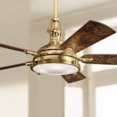 "56"" Kichler Hatteras Bay Burnished Antique Brass Ceiling Fan"