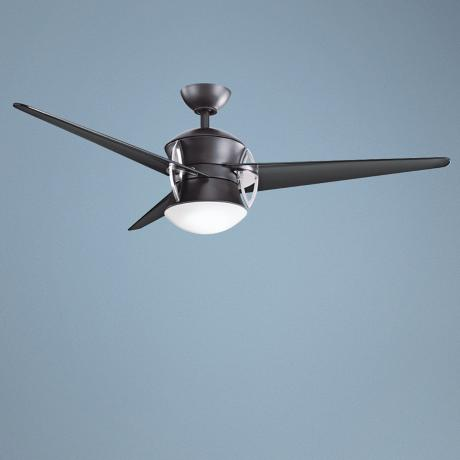 "54"" Kichler Cadence Satin Black Opal Glass Ceiling Fan"