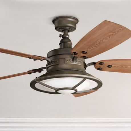 "52"" Kichler Harbour Walk Tannery Bronze Finish Ceiling Fan"