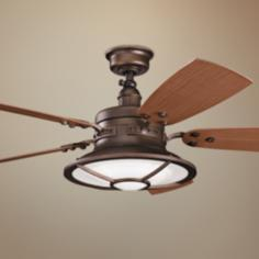 "52"" Kichler Harbour Walk Weathered Copper Finish Ceiling Fan"