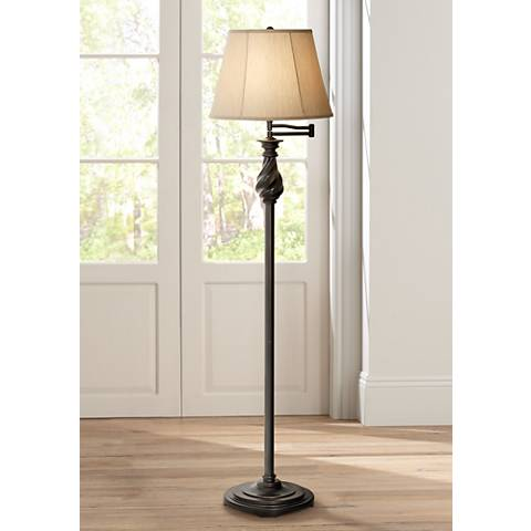 Restoration Bronze Swing Arm Floor Lamp by Regency Hill