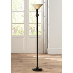 Restoration Bronze Torchiere Floor Lamp with Amber Glass