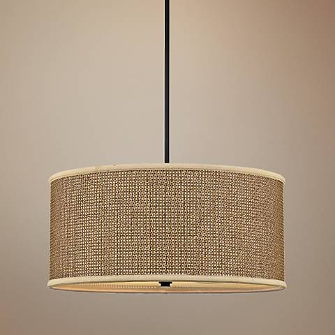 Quoizel Zen Collection Rattan and Black Pendant Light