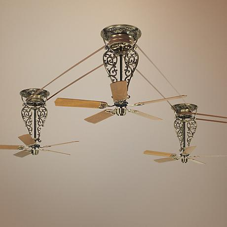 Bourbon Street 4-Piece Antique Brass Ceiling Fan Set