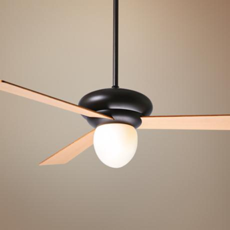 "52"" Period Arts Atlus Bronze Maple Opal Ceiling Fan"