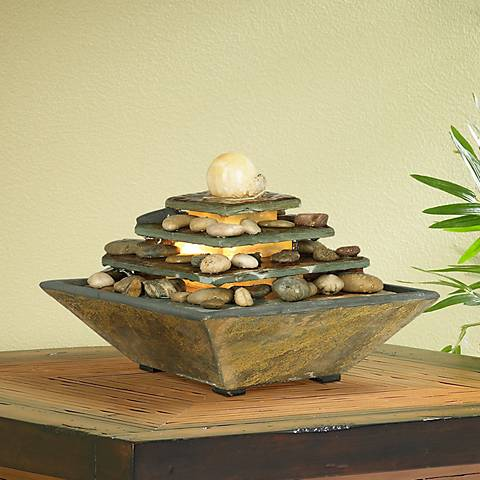 "Four Tiers Feng Shui Copper and Slate 9"" High Table Fountain"