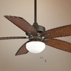 "52"" Cancun Oil-Rubbed Bronze Ceiling Fan with Bowl Light Kit"