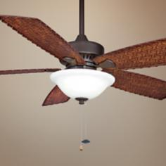"52"" Fanimation Cancun Bamboo Wet Ceiling Fan with Light"