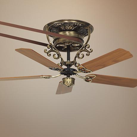 21 fanimation bourbon street belt drive brass ceiling fan n5675 - Belt driven ceiling fan ...