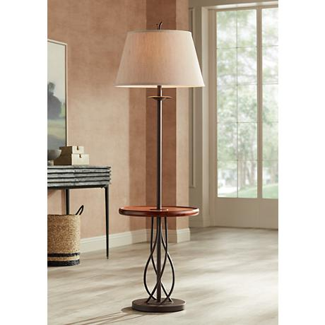 Iron Twist Base Wood Tray Table Floor Lamp