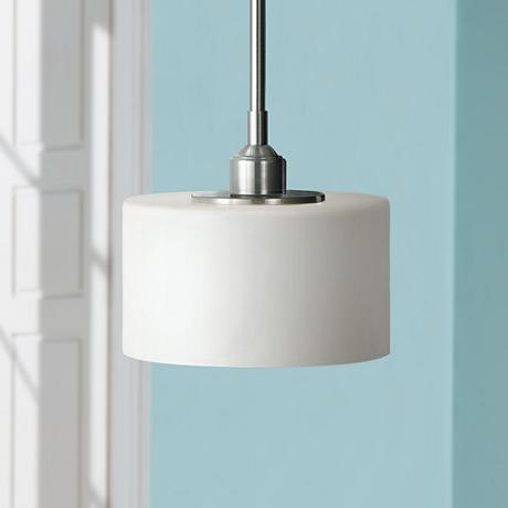 "Feiss Sunset Drive 8"" Wide Brushed Steel Mini Pendant"