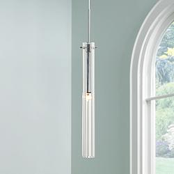 Possini Euro Design Clear Glass Tube Mini Pendant Light