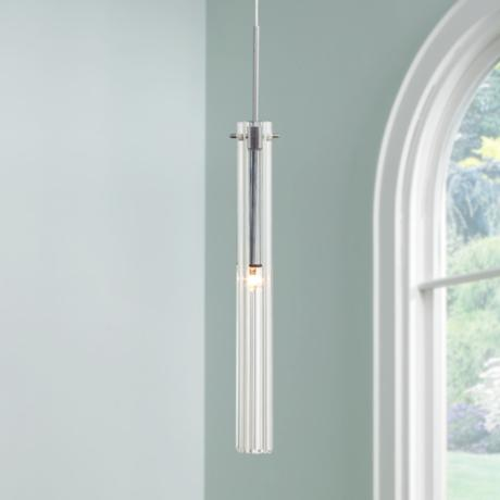 Possini Clear Glass Tube Mini Pendant Light