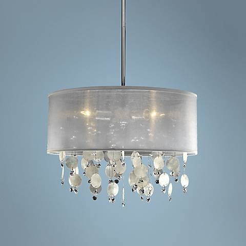 "Around Town Capiz Shell 15"" Wide Pendant Chandelier"