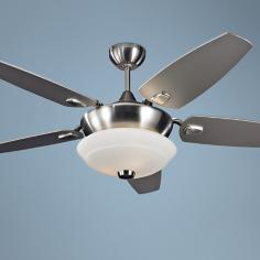 "52"" Monte Carlo Solaire Brushed Steel Ceiling Fan with Light"