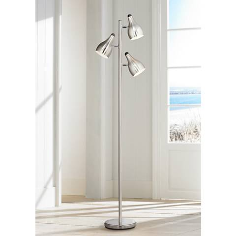 Trac Tree Style 3-Light Floor Lamp in Brushed Steel