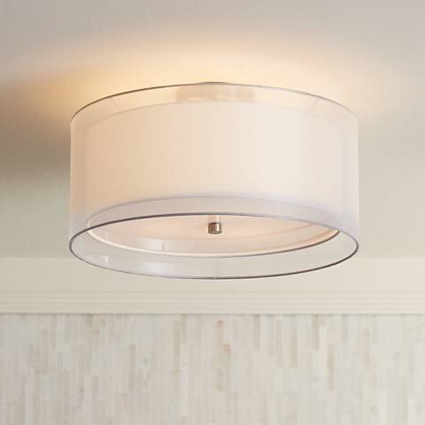 "Possini Euro Design Double Drum 18"" Wide White Ceiling Light"