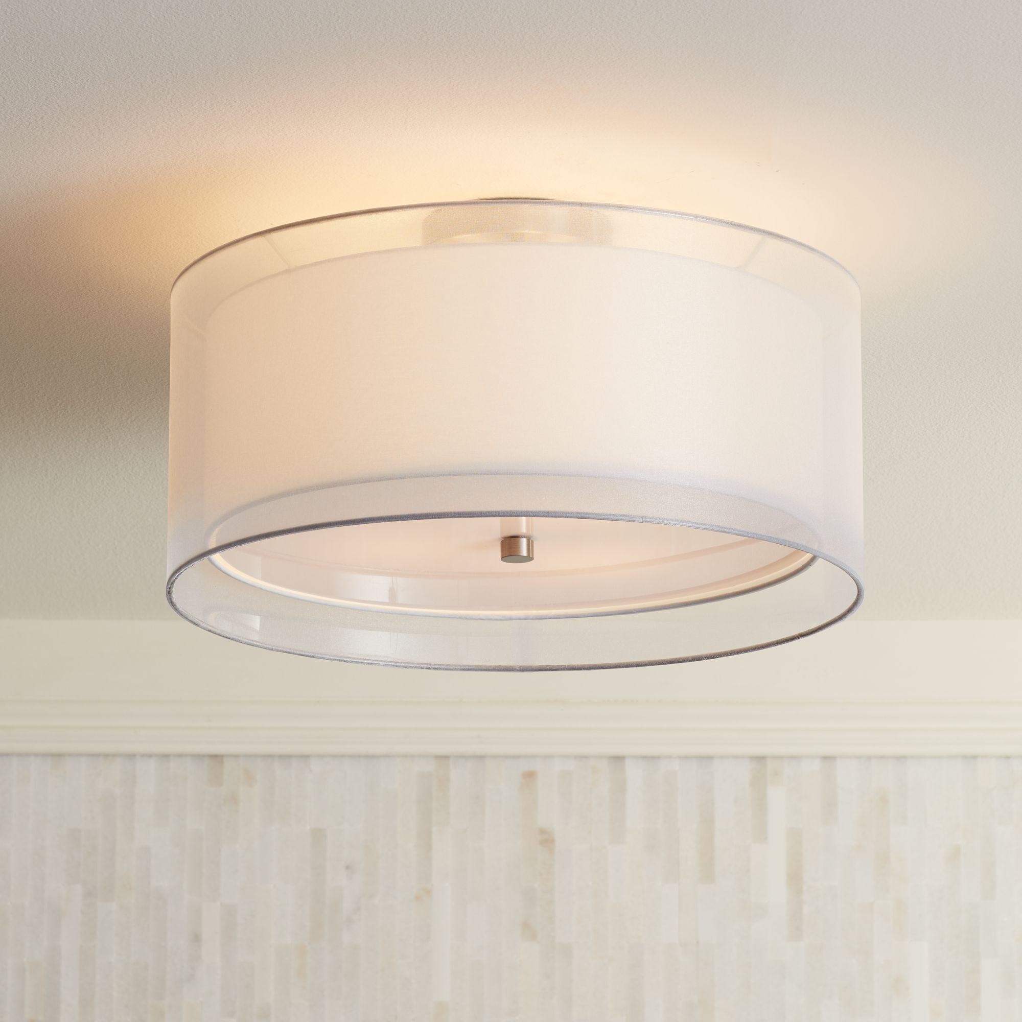 Possini Euro Design Double Drum 18 Wide White Ceiling Light P0197