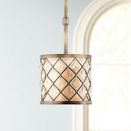 Jeweled Golden Bronze Mini Pendant Light