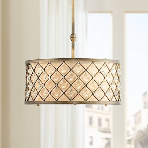 "Jeweled Golden Bronze 18 1/2"" Wide Pendant Light"