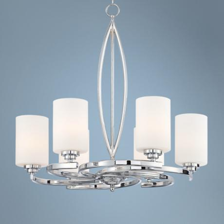 "Possini Euro Design Swirl Arms 26"" Wide Chrome Chandelier"